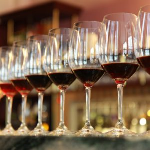 Different White to Red wine in glasses on table